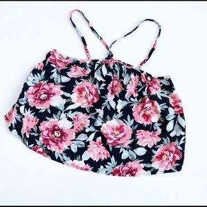 Forever 21 Floral crop top with adjustable straps